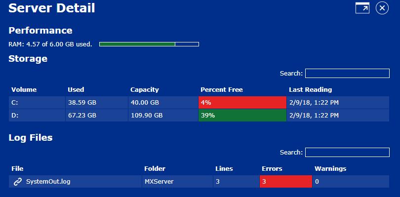 MaxAware - Maximo Server Details